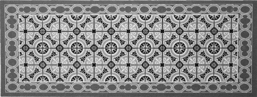 """oKu-Tex Wycieraczka mata zatrzymująca brud kolorowy wzór mozaikowy """"Deco-Sstyle"""" dywanik do wnętrz antypoślizgowa szary/antracyt 45 x 75 cm"""