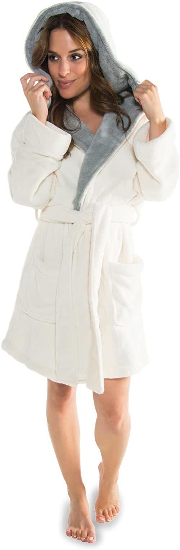 CelinaTex Miami damski szlafrok kąpielowy z kapturem XL kremowy biały szary Coral polar szlafrok poranny z mikrofibry szlafrok do sauny