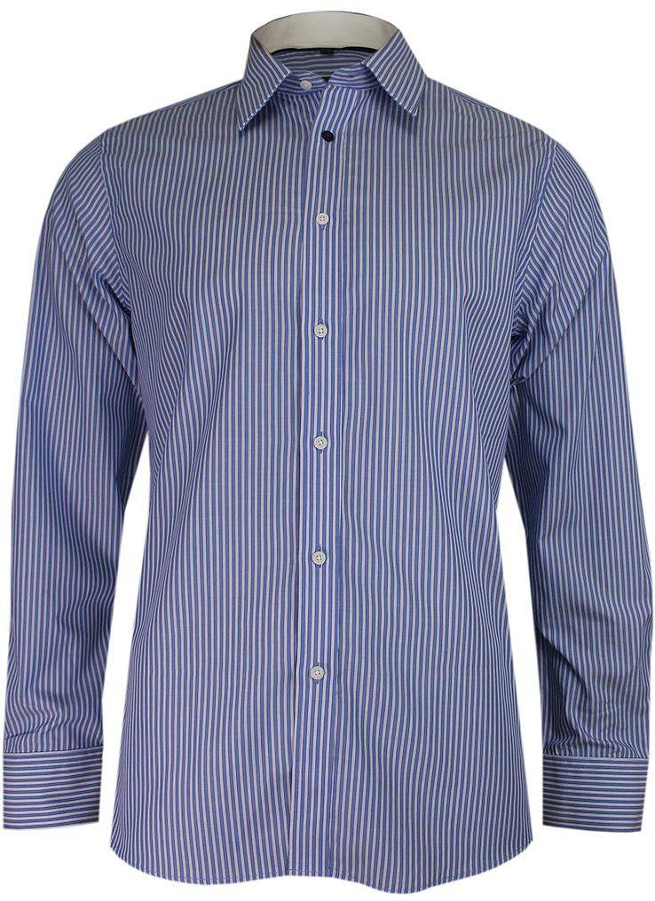 Granatowo-Biała Elegancka Koszula Męska z Długim Rękawem, 100% Bawełna -CHIAO- Taliowana, w Paski KSDWCHIAOH4125