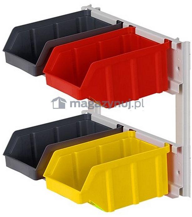Wieszak do zawieszania pojemników warsztatowych, wym. wieszaka 356 x 307 mm - 4 pojemniki (Pojemniki z pojemnikami)