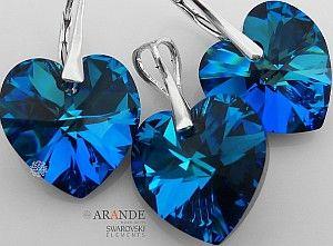 PROMOCJA SWAROVSKI piękny komplet BLUE SREBRO
