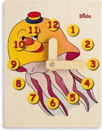 Dida - Zegarek do nauki dla dzieci  Medusy  bawiący się zegarek, zegar do nauki dzieci z drewna do przedszkola, szkoły i domu