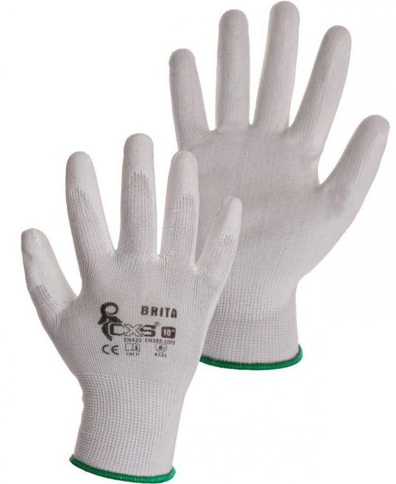 Rękawice robocze BRITA poliuretanowe białe CXS