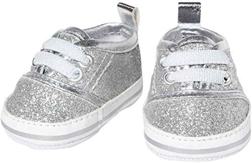 Heless 147 brokatowych trampek dla lalek, w kolorze srebrnym, rozmiar 38-45 cm, eleganckie buty z efektem wow na specjalne okazje