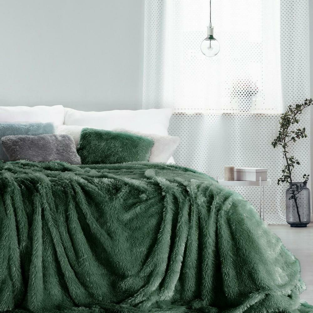 Koc narzuta 200x220 Tiffany zielony ciemny włochacz pled