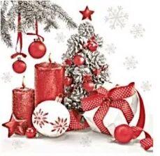 Czerwono szare Serwetki Świąteczne, choinka i świece