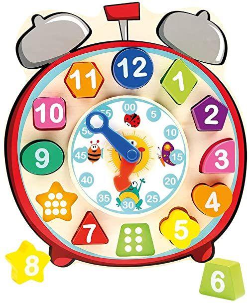 Bino 84053 zegar do sortowania kształtów, zabawka. Drewniany zegar z puzzlami dla dzieci, zabawka edukacyjna na czas nauki, kształty, liczby i kolory. Rozmiar 22,5 x 3 x 24,5 cm