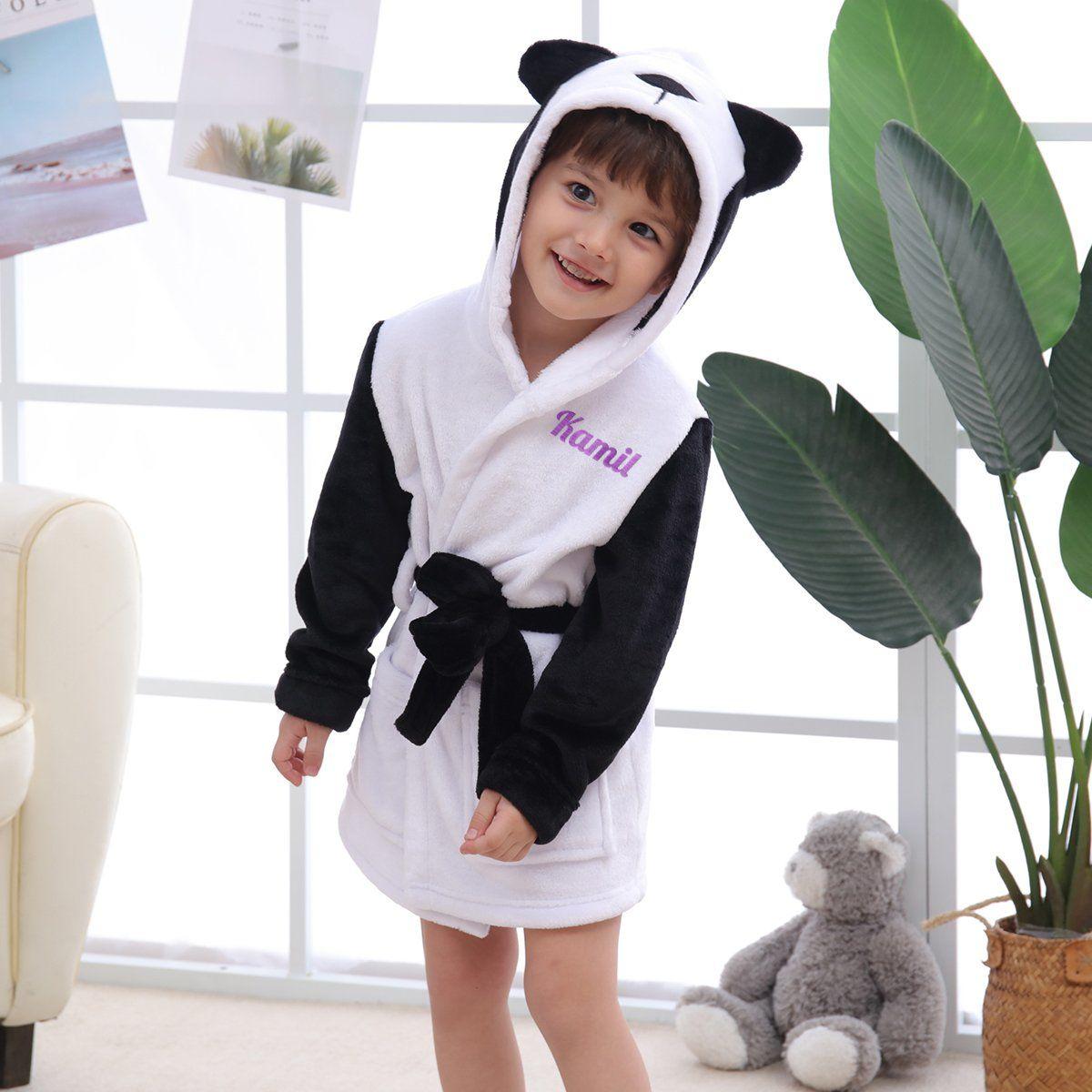 Szlafrok dziecięcy biały Panda z Twoim Haftem