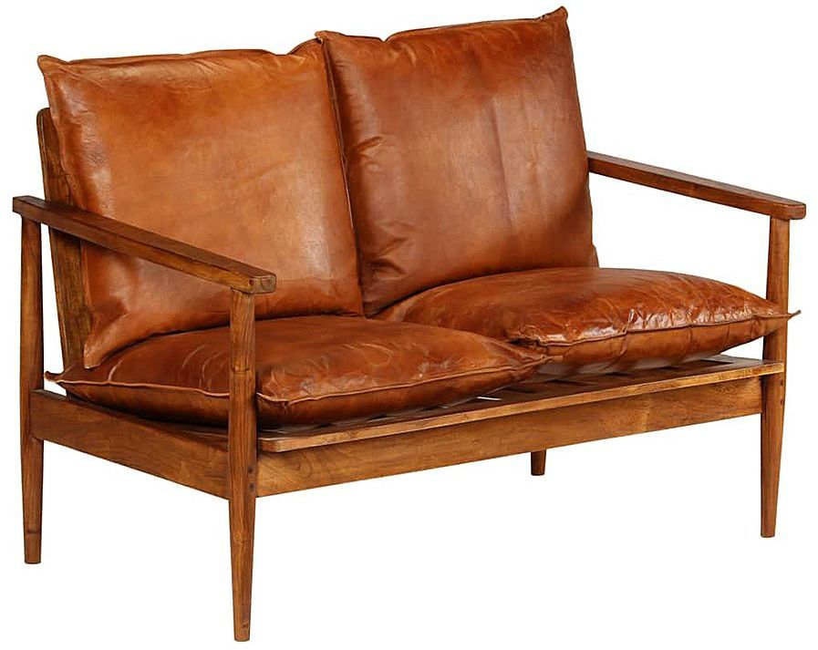 Elegancka skórzana sofa Stera - brązowa
