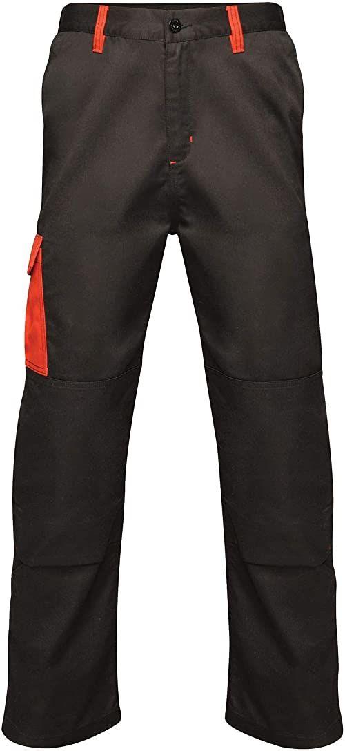"""Regatta męskie profesjonalne kontrastowe wytrzymałe spodnie cargo potrójnie szyte wodoodporne spodnie Black/Classic Red Size: 30"""""""
