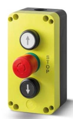 Kasetka sterownicza: przycisk góra 1NO, grzybek bezpieczeństwa 1NC, przycisk dół 1NO PQ03B