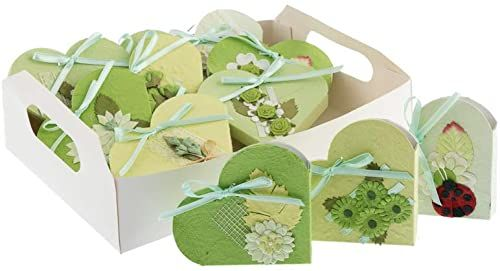 Wyświetla 10 pudełko upominkowe serce papier morwowy zielony siekier. 8 x 10 cm