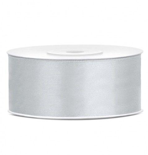 Tasiemka satynowa, srebrna 25 mm