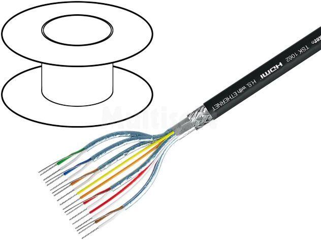 Przewód AV HDMI izol.zewn: PVC; OFC cynowana; czarny 15 żył