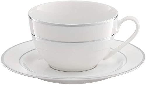 Ambition 29049 serwis do kawy Aura Silver 12-częściowy zestaw białych filiżanek, spodków, zestaw naczyń do kawy, porcelana nowoczesna, elegancka