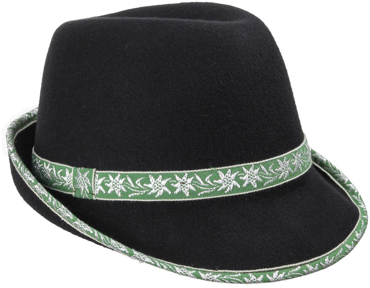 Kapelusz Ludowy Damski z Taśma Edelweiss, zielony