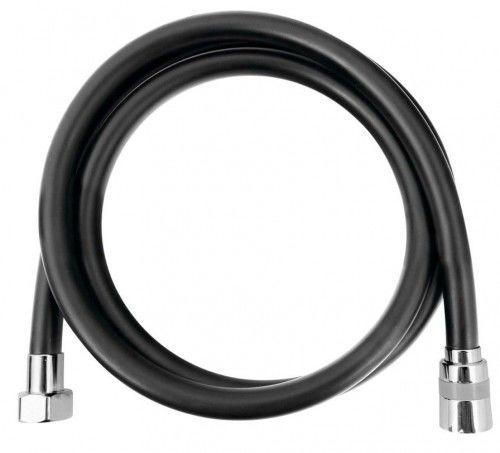 SOFTFLEX wąż prysznicowy plastikowy gładki, 150cm, czarny matowy/chrom