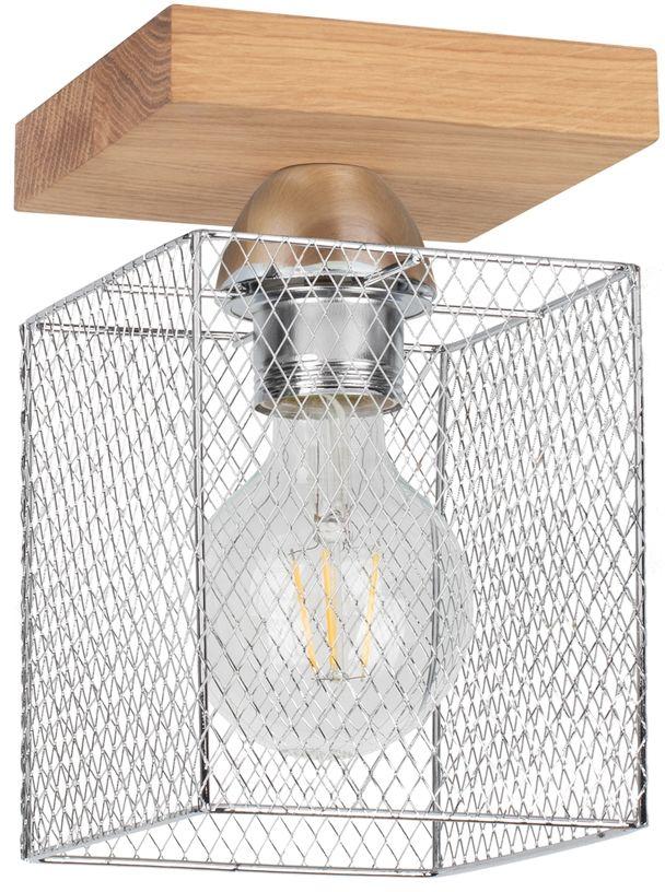 Spot Light 8175174 Norman Wood kinkiet lampa ścienna drewno dąb olejowany klosz metal chrom 1xE27 25W 21cm