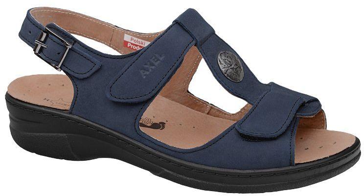 Sandały AXEL Comfort 2275 H Granatowe na haluksy Tęgość H