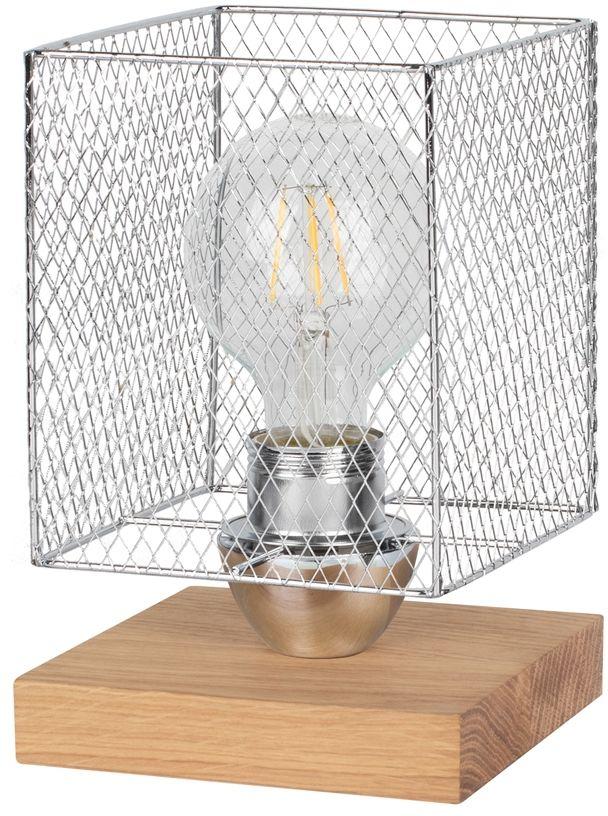Spot Light 9175974 Norman Wood lampa stołowa drewno dąb olejowany/czarny/ klosz chrom metal 1xE27 25W 21cm