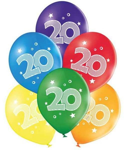 Balony na 20 urodziny kolorowe 25cm 6 sztuk 6000048