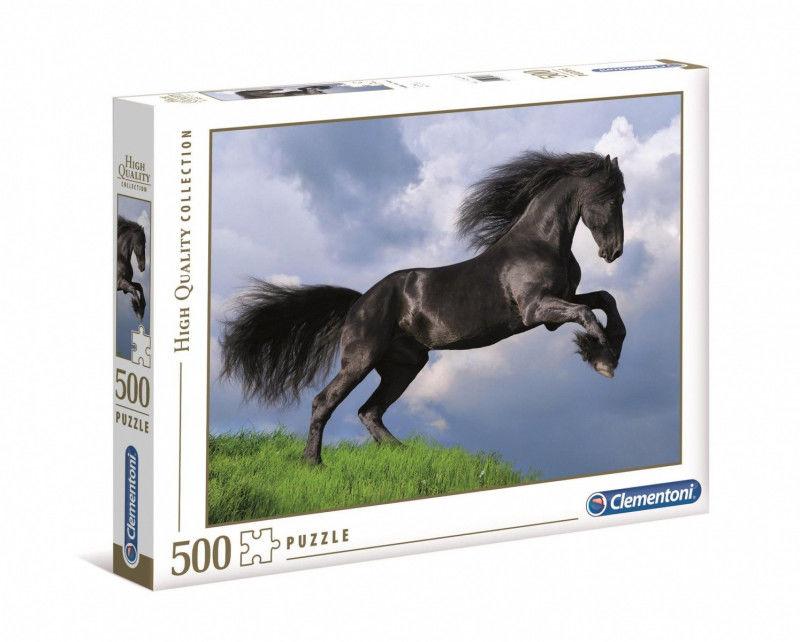 Puzzle 500 elementów HQ Fryzyjski Czarny Koń