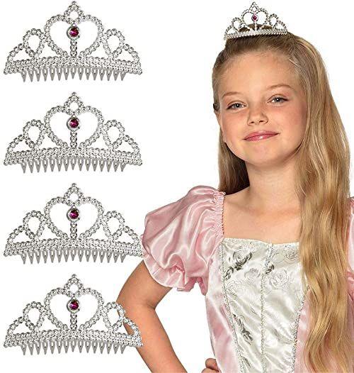 Boland 44089 - zestaw tiary, 4 srebrne korony dla dzieci, opaska do włosów, dla księżniczki, wróżki, królowej, urodzin, imprezy tematyczne, karnawał, ostatki, Halloween