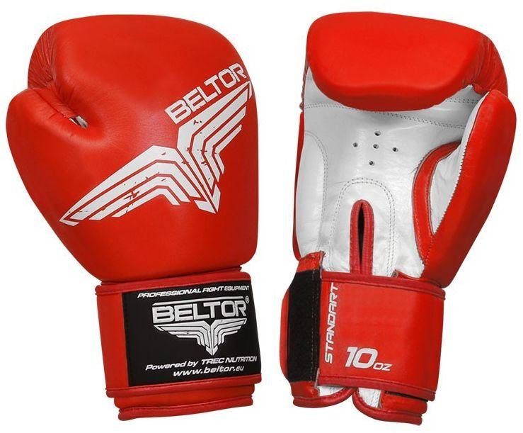 Beltor rękawice bokserskie Standard skóra naturalna czerwone