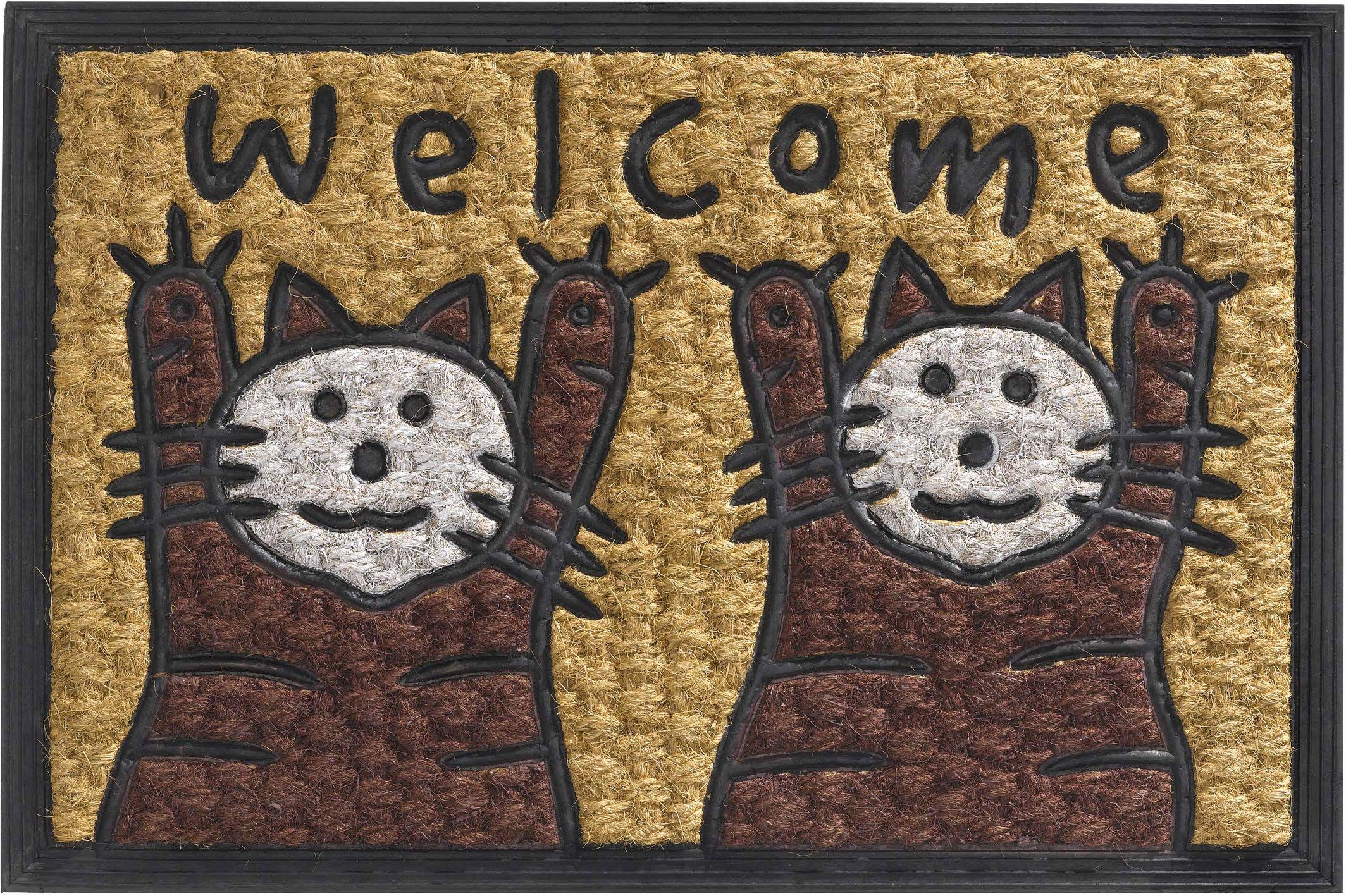 Boucara wycieraczka do użytku wewnątrz i na zewnątrz, włókno kokosowe i guma, motyw koty, 40 x 60 cm