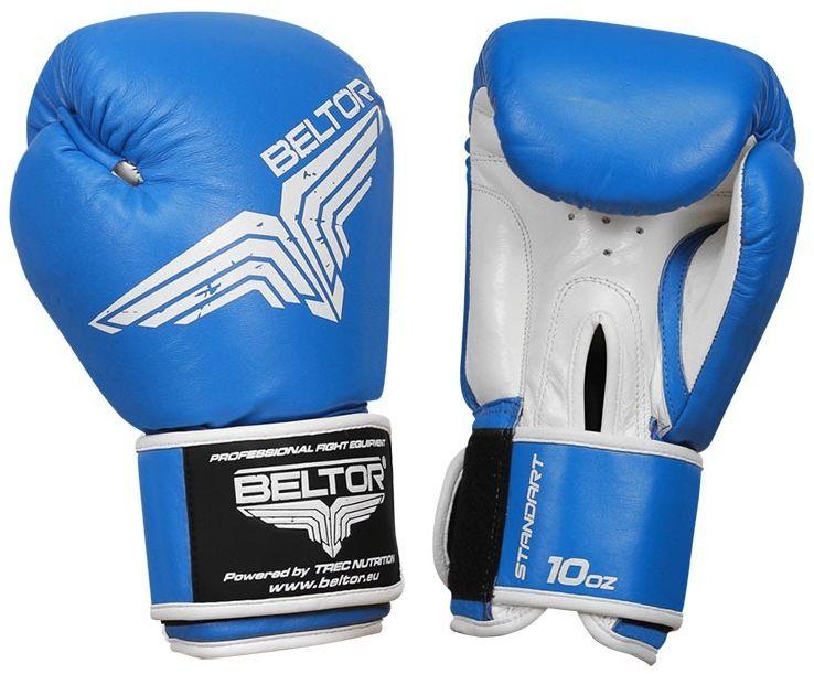 Beltor rękawice bokserskie Standard skóra naturalna niebieskie