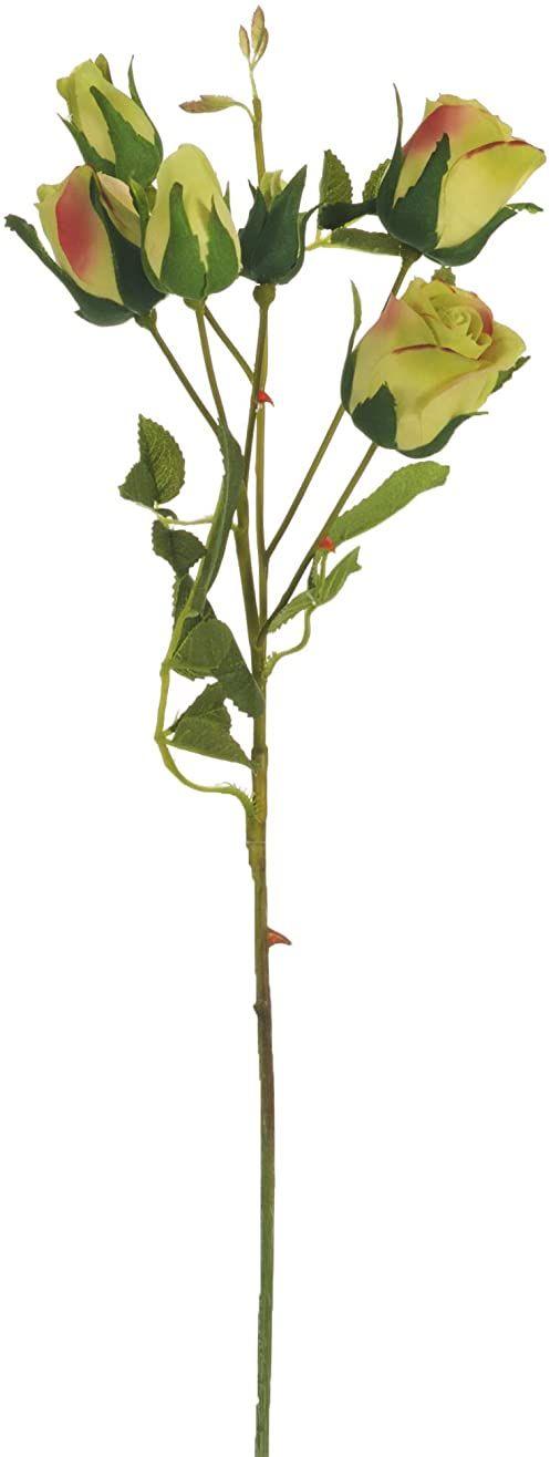 Express Flor 3 sztuczne gałązki róży z jedwabiu, 6 róż na gałąź 46 cm, zielone