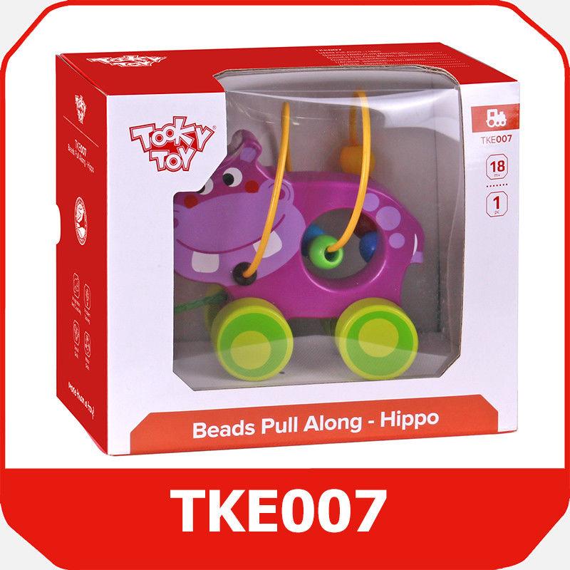 Tooky Toy HIPOPOTAM DO CIĄGNIĘCIA Z PRZEKŁADANKĄ TKE007