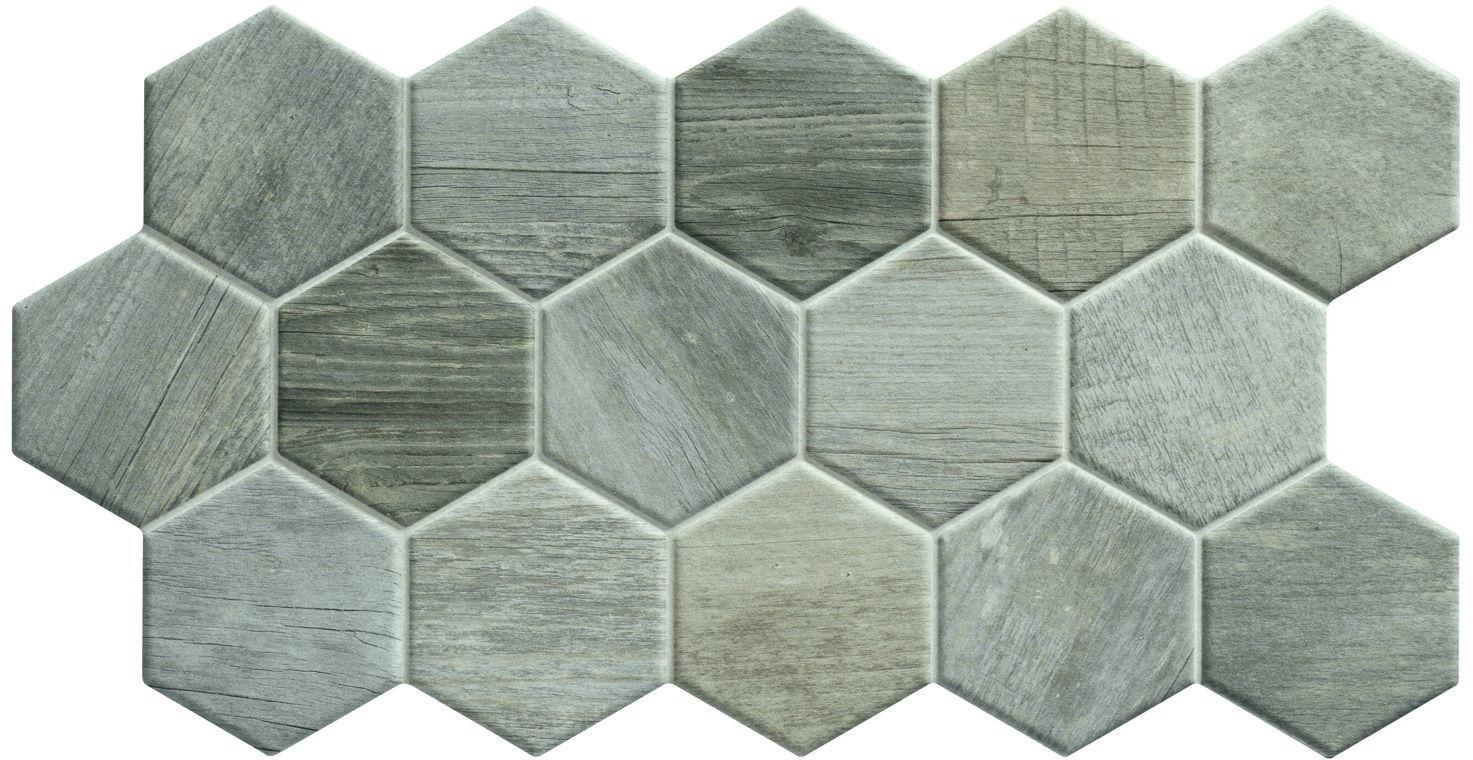 Sequoia Hex Ash 26,5x51 płytki heksagonalne gresowe
