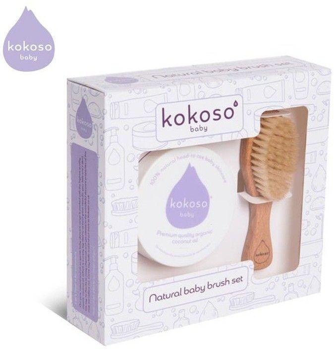 Kokoso Baby Brush Set Zestaw Prezentowy Niemowlak Bez Ciemieniuchy