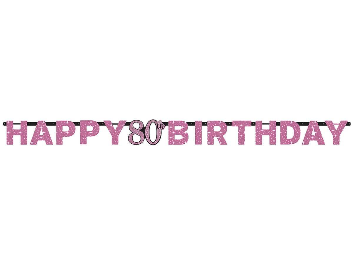 Baner Happy Birthday na osiemdziesiątkę - 213 cm - 1 szt.