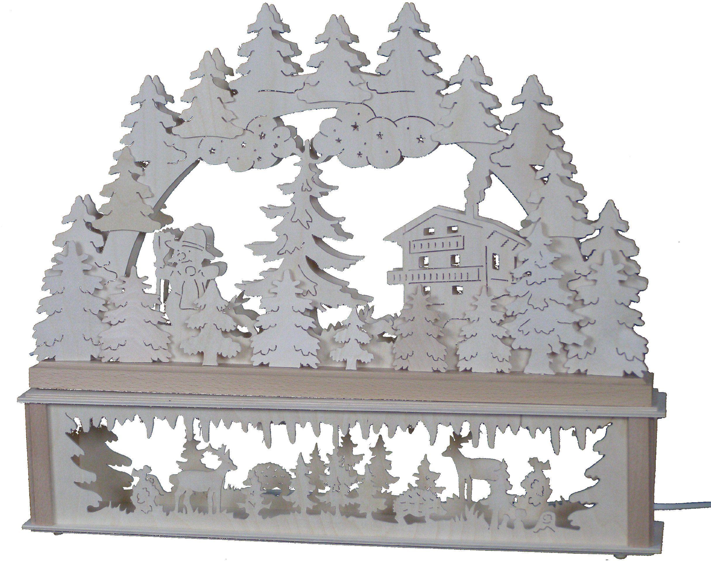 SchwibboLa KB 10-121 Rudawy podwójnie podświetlany świecznik łukowy łącznie z podwyższeniem z certyfikatem, 52 x 42 cm 10-121