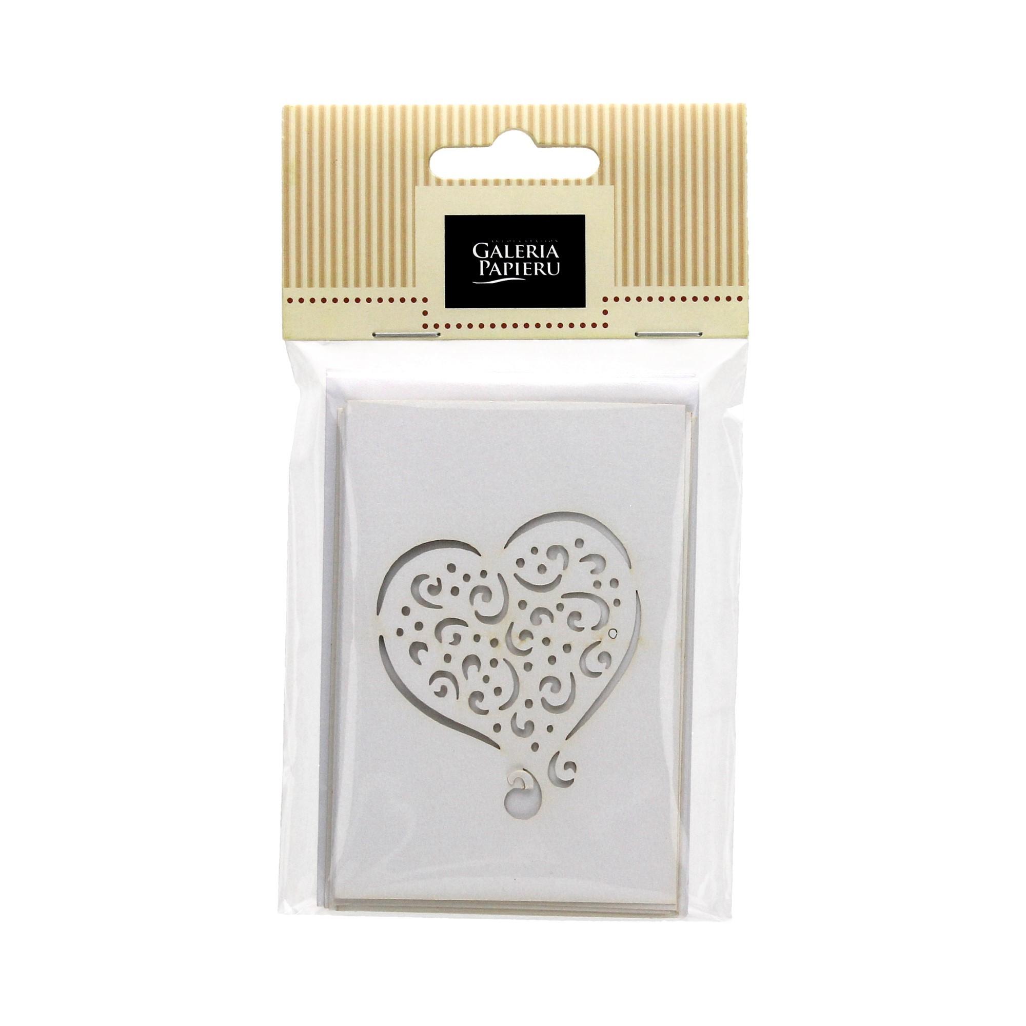 Zestaw - koperta + karnecik - serce Pearl biały - opak. 5 kpl.