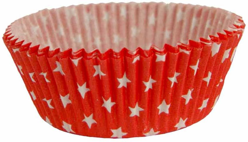 Foremki urodzinowe na babeczki czerwone w białe gwiazdki - 60 szt.