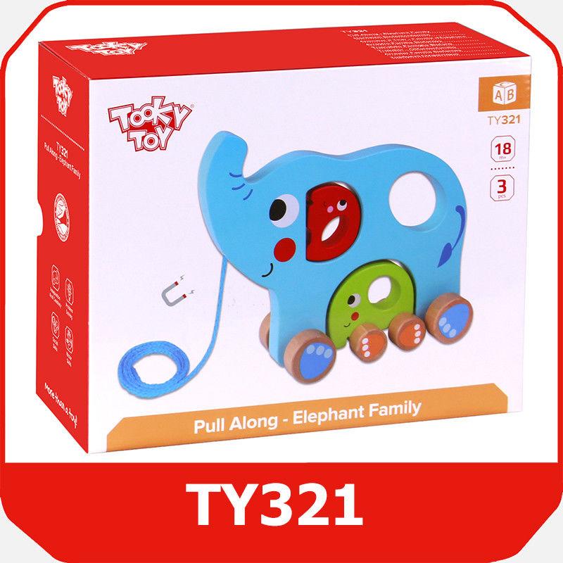 Tooky Toy RODZINA SŁONI DO CIĄGNIĘCIA TY321