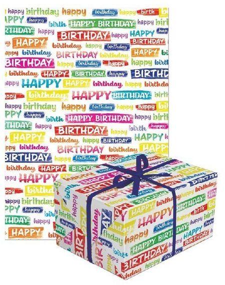 Papier do pakowania prezentów happy birthday 1 rolka 70x200cm PAPIER-7