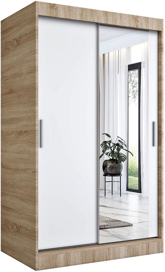 Przesuwna szafa z lustrem dąb sonoma + biały - Palmira 3X