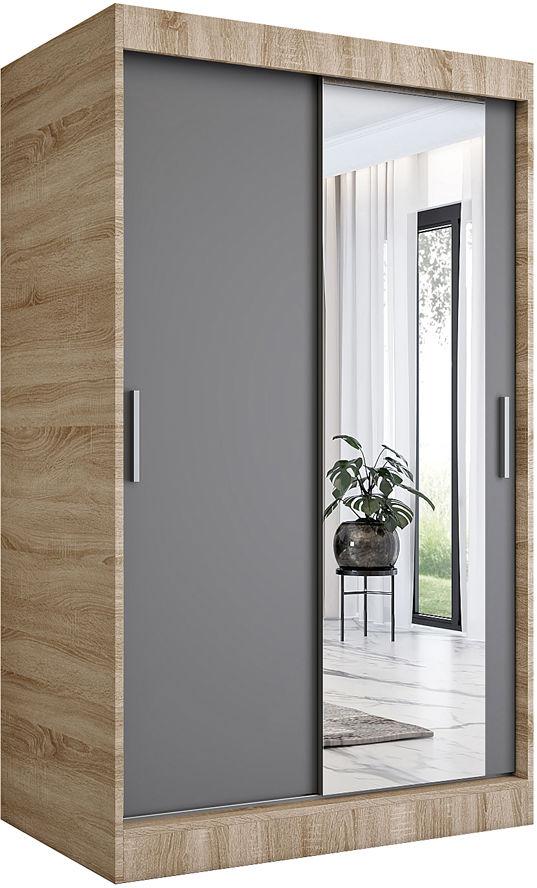 Garderoba przesuwna z lustrem dąb sonoma + antracyt - Palmira 3X
