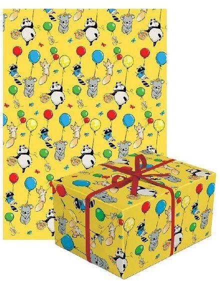 Papier do pakowania prezentów zwierzątka z balonami 1 rolka 70x200cm PAPIER-1