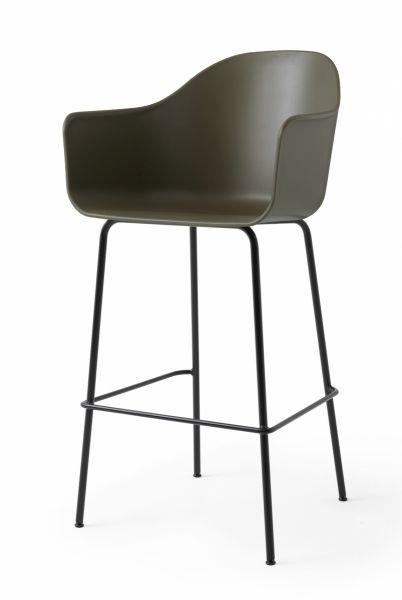 Menu HARBOUR Krzesło Barowe 112 cm Hoker Czarny - Siedzisko Oliwkowe