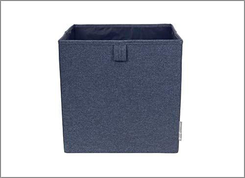 Bigso Box of Sweden Pudełko na kostki do regału lub szafy  duże pudełko do przechowywania ubrań, zabawek, artykułów biurowych itd.  składane pudełko regałowe z poliestru i kartonu  niebieskie