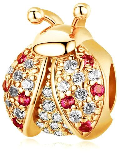 Pozłacany srebrny charms do pandora biedronka ladybug cyrkonie srebro 925 NEW217YG