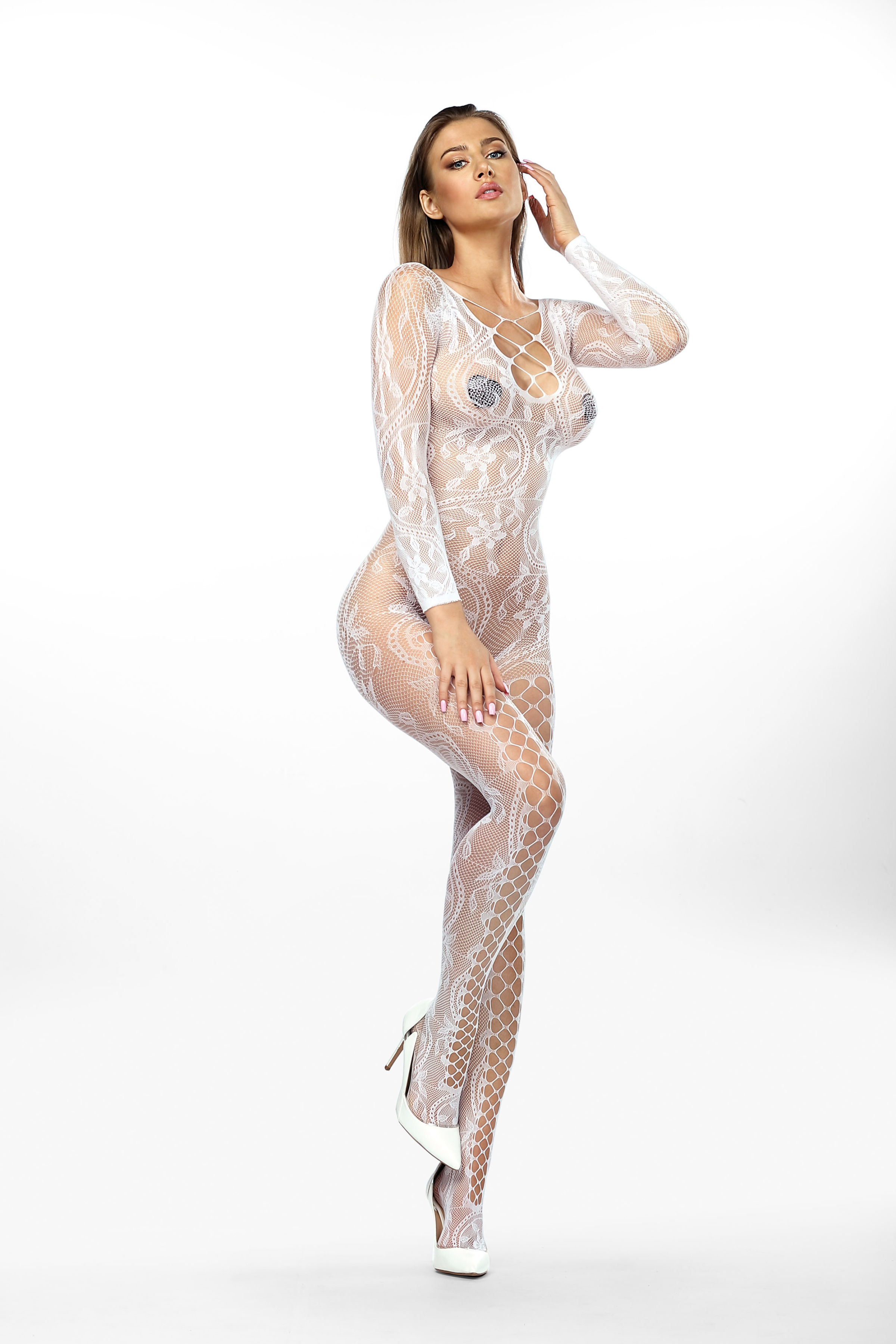 Anais Mirabella Bodystocking White