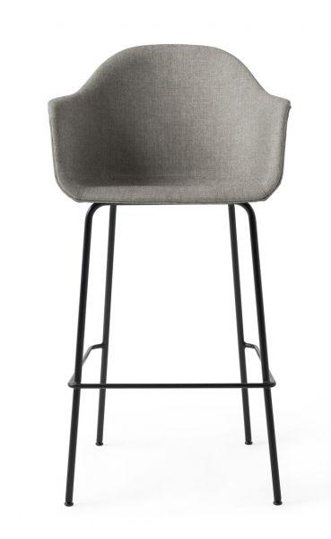 Menu HARBOUR Krzesło Barowe 112 cm Hoker Czarny - Siedzisko Tapicerowane Szare