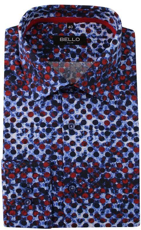 Kolorowa Koszula Wizytowa, Długi Rękaw - BELLO - Taliowana, w Czerwone Kropki, Abstrakcyjna KSDWBELLOBS063