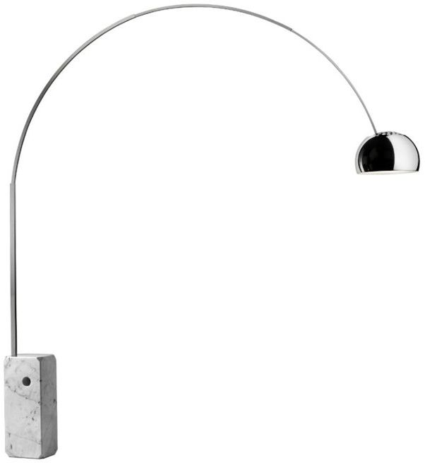 Arco H240 marmuru, chrom - Flos - lampa podłogowa